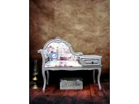 Vintage Telephone Seat Chair Table Painted Shabby Chic