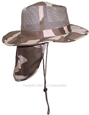 Men/Women Safari Outback Mesh Hat W/Neck Flap Fish #990 Light Desert Camo Small