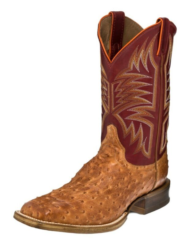 Justin, Western, Boots, Mens, Full, Quill, Ostrich, Sq, Toe, 9, D, Vintage, 5157
