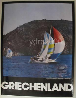 GREECE GERMANY GREEK YACHTING SAILING BOATS 1975 EOT ORIGINAL  TRAVEL  POSTER