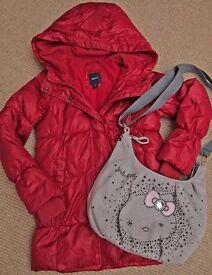 GIRLS *GAP* RED PUFFA STYLE COAT age 8-9 & * BRAND NEW * HELLO KITTY BAG