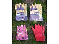 Children's Gardening Or Work Gloves Set of 4 Pairs Of Gloves Excellent Condition