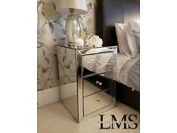 Mirrored bedside table, 3 drawers crystal handles, brand new in box