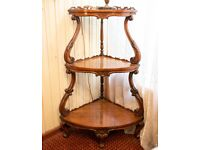 1860 Walnut Whatnot Antique Victorian Corner Shelf Unit Storage Stand Display