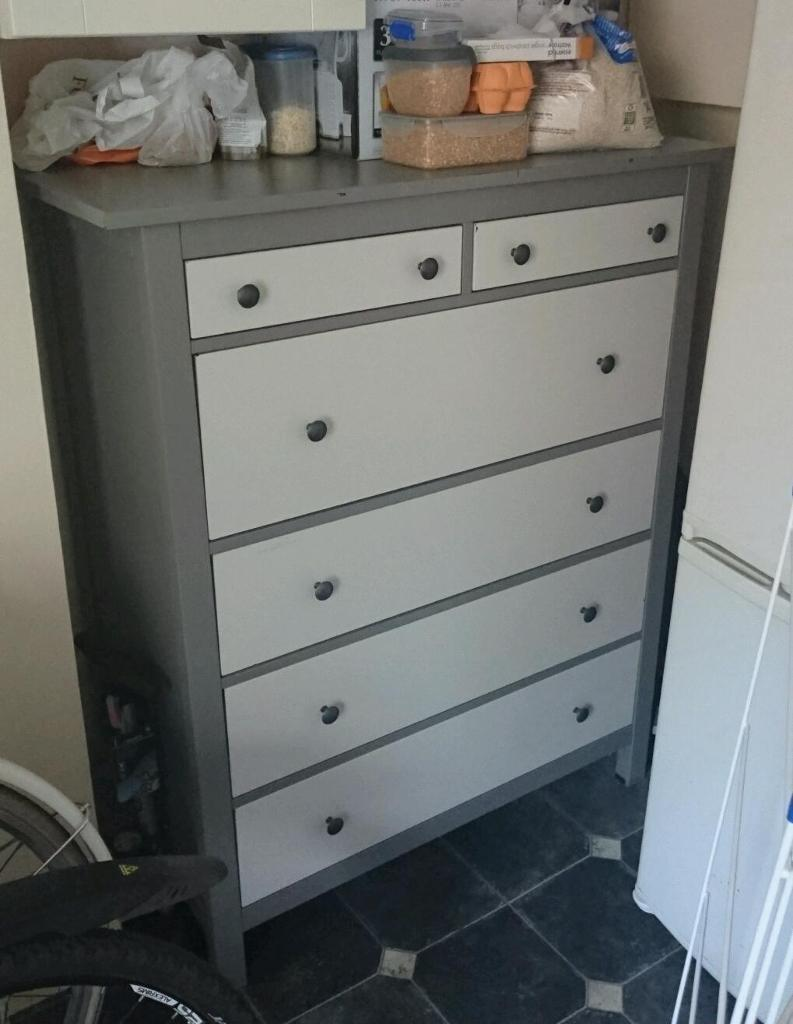 Ikea hemnes tall chest of 6 drawers painted grey in for Ikea hemnes grau