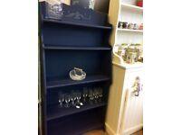 Beautiful Vintage Handpainted indigo freestanding shelf unit or bookcase.
