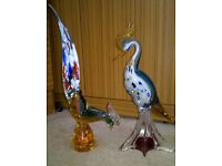 TWO LARGE VINTAGE MURANO GLASS ORNAMENTAL BIRDS