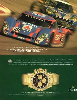 "ROLEX WATCH PRINT AD THE ROLEX SPORTS CAR SERIES ""HOWLING FOR MERCY"" RACING"