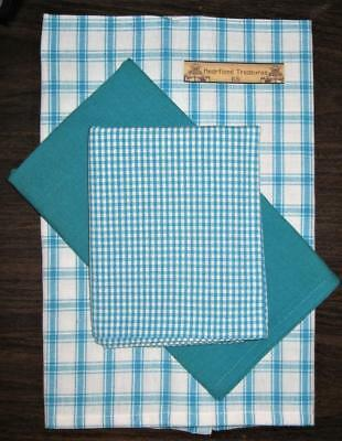 Dunroven House  Turquoise Dish Towels   Set of 3   Checked ~ Solid  ~ Plaid - Turquoise Dish Set