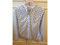 NEW Savile Row blouse white with tea pots size 12