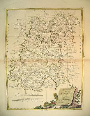 1776 Genuine Antique Hand Colored Map N Central France. Pretty cartouche. Zatta
