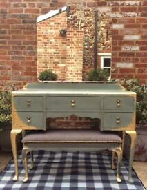 French style wooden dressing table with mirror and stool