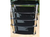 Black Glass Hi-Fi Stand / Table /Rack