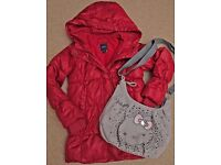 GIRLS *GAP* RED PUFFA STYLE COAT age 8-9 AND BRAND NEW HELLO KITTY BAG