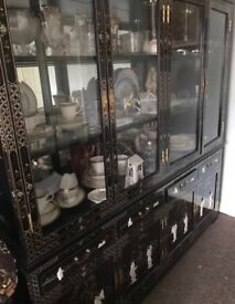 Stunning!!! Black Of Mother Of Pearl Chinese/Oriental/Asian Display Cabinet.