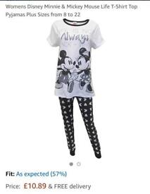 Brand new Size 8-10Womens Disney Minnie & Mickey Mouse Life T-Shirt Top Pyjamas