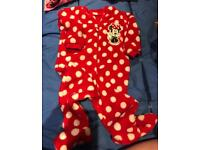 Girls Minnie Mouse sleep suit age 1- 1 1/2