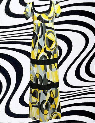 G11✪ Psychedelic 60er 70er Jahre Panton Ära Maxi Kleid Kostüm Hippie Twiggy gelb