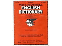 The Universal English Dictionary 1931 - Complete set of 52 weekly parts
