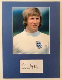 Football Memorabilia Colin Bell Signed Photo Mount Display Man City and England Legend COA