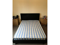 Black Bed King Size leather with mattress