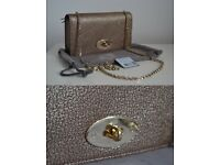 MULBERRY BAYSWATER CLUTCH WALLET BAG METALLIC MUSHROOM GOAT LEATHER WITH GOLD CHAIN