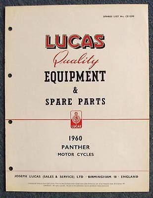 LUCAS PANTHER Motorcycles Spare Parts List 1960 #CE829E