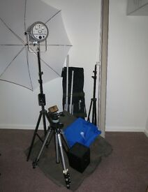 Portable studio, including 2 Backdrops / stands /light/umbrella/honeycomb snoot/flash meter & more
