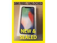 Brand New Sealed Apple iPhone X 64 GB SIM FREE Unlocked Smartphone - Silver 64GB