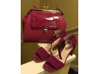Matching fuscia handbag and shoes