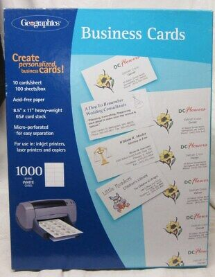 Geographics BUSINESS CARDS, 1000 White Cards, 65# card stock,Laser, inkjet  MIP Geographics Business Cards