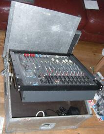 spirit folio fx8 mixer in aluminium flightcase (tiltable lid)