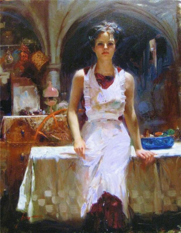 """Pino """"Deborah Revisited"""" In her apron Sold out Embellished Giclee Canvas Hand S#"""