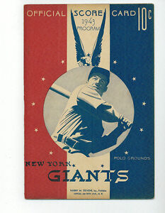 1943 1944 1945 1946 1947 NY Giants Baseball Programs Lot of 5 Different