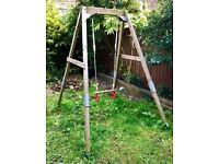 Adjustable Wooden Swing frame + child seat (ages 6mo-8yr)