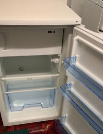 Lec fridge, white under counter with ice box - excellent condition