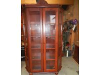 wooden display cabinet glass door with drawer