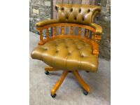 Gold Leather Directors Captains Swivel Office Chair