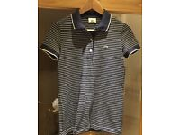 Ladies Lacoste blue & white striped polo shirt size 38 S £15 new without tags