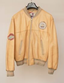 Rare Nickelson leather varsity jacket in yellow leather
