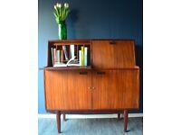 Stunning Vintage 'Turnidge' teak Double Bureau / desk / cabinet. Delivery. Midcentury / Danish style