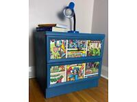 Refurbished boys bedside table with decoupage