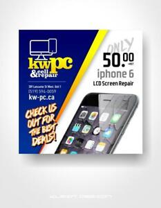iPhone 6  Screen Repair ??    (KW-PC CELL PHONES--309 LANCASTER ST WEST KITCHENER)