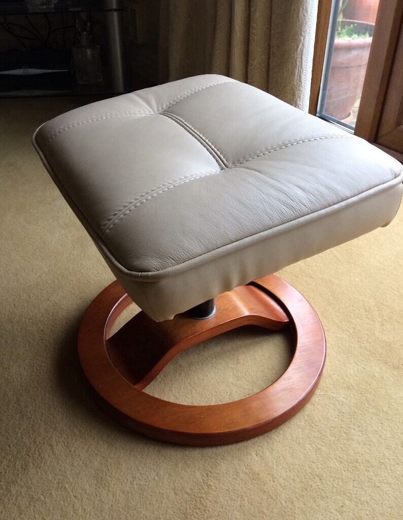 Luxury Real Leather Cream Foot Stool With Wooden Round