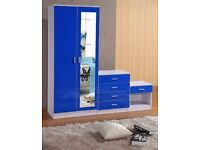 Blue mirrored HIGH GLOSS 3 PIECE Bedroom Furniture Set - Wardrobe Chest Bedside