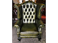 Green leather Chesterfield wingback chair