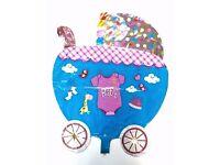 Baby Shower Balloon Pram Pushchair Newborn Girl Boy Christening Birth