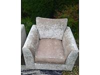 A New Designer Natural Crushed Velvet Large Arm Chair.