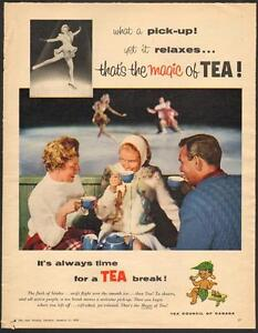 1958 full-page color magazine ad for Tea Council of Canada