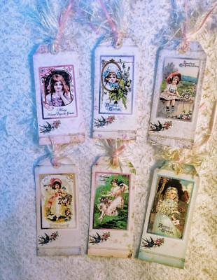 (Set of 6 Hang Tags~Vintage Happy Birthday Girls~Gift Tags~Scrapbook~Cards~#26R)